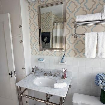 Moroccan Tile Wallpaper, Transitional, bathroom, Copper Gyer Design