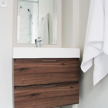 "Aubrey & Lindsay - bathrooms - Benjamin Moore - Classic Gray - floating vanity, floating washstand, modern floating vanity, modern floating washstand, veneer washstand, veneer vanity, veneer bathroom vanity, walnut washstand, walnut vanity, walnut bathroom vanity, walnut veneer vanity, walnut veneer washstand, 2"" hex tiles, 2"" hex marble tiles, marble hex floor, vanity alcove, washstand alcove, bathroom vanity alcove,"