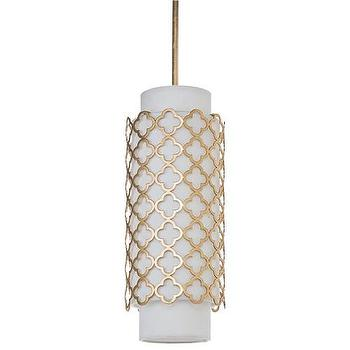 Lighting - Regina Andrew Modern Luxe Gold Pendant I Zinc Door - gold moroccan quatrefoil pendant, white linen pendant with gold moroccan shade, white linen pendant with gold quatrefoil shade,
