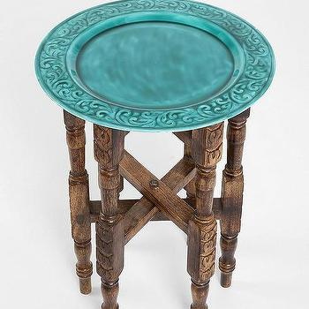 Tables - Magical Thinking Folding Side Table I Urban Outfitters - turquoise tray side table, carved wood tray side table with turquoise top, folding wood side table with turquoise tray, carved folding side table with turquoise tray,
