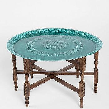 Tables - Magical Thinking Folding Table I Urban Outfitters - turquoise folding tray coffee table, carved wood tray table with turquoise top, folding carved wood coffee table with turquoise tray, round turquoise tray coffee table, carved wood folding coffee table with turquoise tray,
