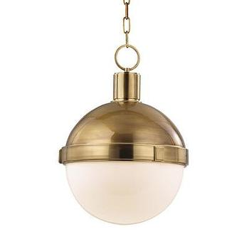 Lighting - Hudson Valley Lighting Lambert 1 Light Pendant | Wayfair - aged brass oval shaped pendant with glass shade, white glass and aged brass oval pendant, modern aged brass and white glass pendant,