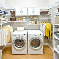 Organized Living - laundry/mud rooms - yellow and gray laundry room, laundry room, light gray walls, laundry room shelves, laundry room cabinets, laundry room cabinets, laundry room shelving,