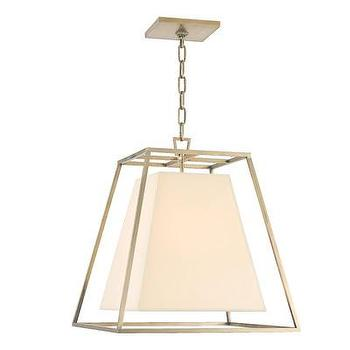 Lighting - Hudson Valley Lighting Kyle 1 Light Pendant | Wayfair - aged brass white pendant, white pendant light with aged brass cage, aged brass pendant with white shade,