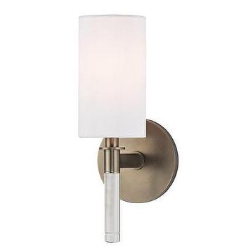 Lighting - Hudson Valley Lighting Wylie 1 Light Wall Sconce | Wayfair - brushed bronze wall sconce with white shade, bronze wall sconce with white shade, bronze and glass wall sconce with white shade,