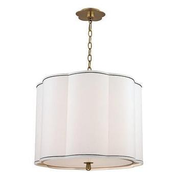 Lighting - Hudson Valley Lighting Sweeny 4 Light Pendant | Wayfair - white scalloped pendant light, scalloped pendant, scalloped pendant with aged brass trim,