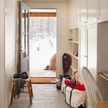 Mudroom Paneling, Country, laundry room, Benjamin Moore Swiss Coffee, Whitten Architects