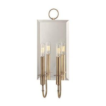Lighting - Hudson Valley Lighting Essex 2 Light Wall Sconce | Wayfair - aged brass mirrored wall sconce, beveled mirror wall sconce with aged brass trim, beveled mirror and brass two light wall sconce,