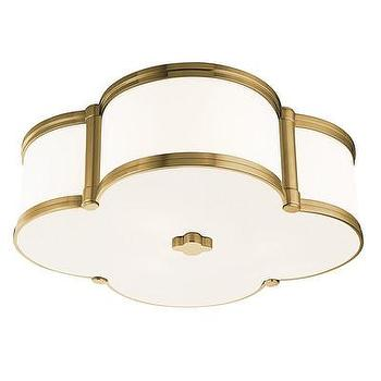Lighting - Hudson Valley Lighting Chandler 3 Light Flush Mount | Wayfair - white clover shaped flush mount with aged brass trim, clover shaped flush mount, white clover shaped ceiling mount with aged brass trim,