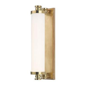 Lighting - Hudson Valley Lighting Sheridan 1 Light Bath Vanity Light | Wayfair - aged brass vanity light, aged brass vanity sconce, aged brass vanity sconce with frosted glass shade, frosted glass and aged brass sconce,