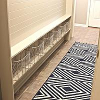 The Creativity Exchange - laundry/mud rooms - mudroom, mud room, mudroom ideas, mudroom runner, mudroom rug, beadboard, mudroom beadboard, beadboard panels, beadboard paneling, beadboard in mudroom, mudroom baskets, black and white rug, geometric rug, black and white geometric rug,