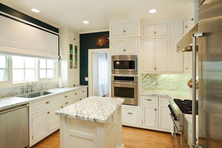 White And Navy Kitchen Traditional Kitchen Designed