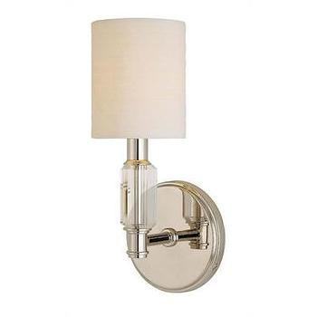 Lighting - Hudson Valley Lighting Glacier 1 Light Wall Sconce | Wayfair - polished nickel wall sconce with crystal detail, polished nickel and crystal wall sconce with white shade,
