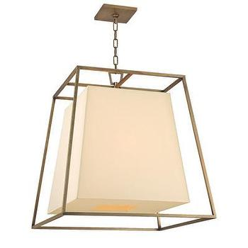 Lighting - Hudson Valley Lighting Kyle 6 Light Chandelier | Wayfair - contemporary aged brass cage pendant, modern aged brass pendant light, aged brass chandelier with cream shade,
