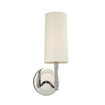 Lighting - Hudson Valley Lighting Dillion 1 Light Wall Sconce | Wayfair - polished nickel sconce, contemporary polished nickel sconce, polished nickel wall sconce with ivory shade,