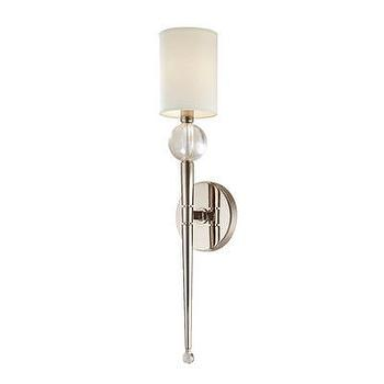 Lighting - Hudson Valley Lighting Rockland 1 Light Wall Sconce | Wayfair - polished nickel wall sconce with white shade, polished nickel wall sconce with crystal accent, polished nickel and crystal wall sconce with white shade,