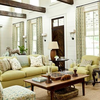 Yellow Sofa, Cottage, living room, Sherwin Williams Moderate White, Southern Living