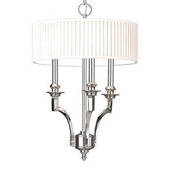 Lighting - Hudson Valley Lighting Mercer 3 Light Drum Pendant | Wayfair - polished nickel 3 light drum pendant, polished nickel pendant with pleated white shade, polished nickel 3 light pendant with pleated white shade,