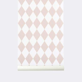 Wallpaper - Wallpaper I ferm LIVING - pink and white harlequin patterned wallpaper, geometric pink and white wallpaper, pink and white diamond patterned wallpaper,