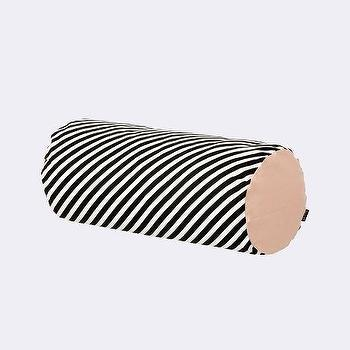 Pillows - Black Stripe Cylinder Cushion I ferm LIVING - black and white striped bolster pillow, black white and pink striped bolster pillow, black and white striped bolster pillow with pink ends,
