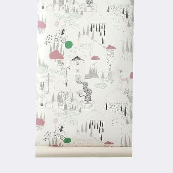 Wallpaper - In The Rain Wallpaper I ferm LIVING - whimsical kids wallpaper, fairytale wallpaper, black white pink and green kids wallpaper, fairy tale wallpaper,