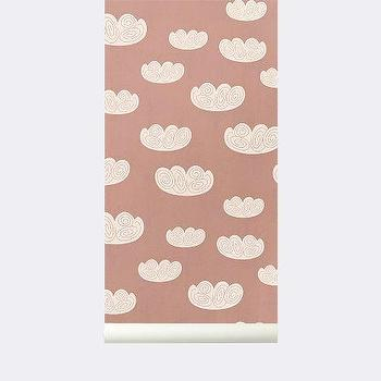 Wallpaper - Cloud Wallpaper I ferm LIVING - pink and white cloud wallpaper, contemporary cloud patterned wallpaper, pink and white cloud pattern wallpaper, modern pink and white cloud shaped wallpaper,
