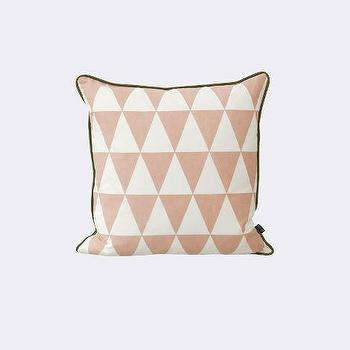 Pillows - Large Geometry Cushion I ferm LIVING - pink and white geometric pillow, pink and white harlequin pillow, pink and white diamond patterned pillow,