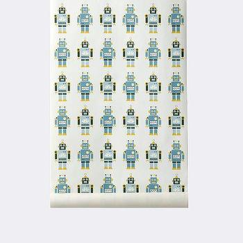 Wallpaper - Robots Wallpaper I ferm LIVING - robot wallpaper, modern robot wallpaper, contemporary robot wallpaper, blue and yellow robot wallpaper,