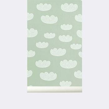 Wallpaper - Cloud Wallpaper I ferm LIVING - green and white cloud wallpaper, cloud patterned wallpaper, modern cloud patterned wallpaper, mint green and white cloud patterned wallpaper,