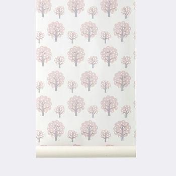 Wallpaper - Dotty Wallpaper I ferm LIVING - pink white and gray kids wallpaper, pink white and gray tree wallpaper, pink white and gray forest wallpaper,