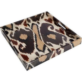 Decor/Accessories - Madeline Weinrib Brindle Mor Square Tray I Barneys.com - ikat tray, brown ikat tray, ikat square tray,