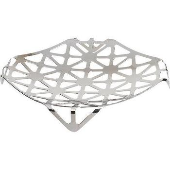 Decor/Accessories - Alessi Trellis Fruit Holder I Barneys.com - stainless steel fruit holder, stainless steel fruit bowl, modern stainless steel fruit bowl, geometric stainless steel fruit stand,