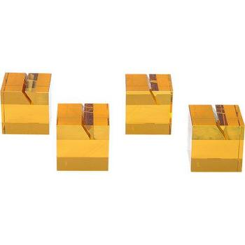 Decor/Accessories - Veritas Place Card Holder Set I Barneys.com - amber glass place card holder, modern amber colored glass place card holder, amber colored place card holder,