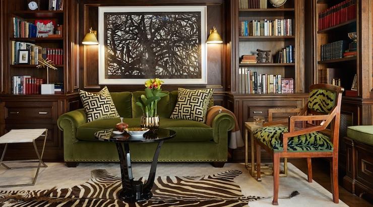 Green Velvet Sofa Living Room Ideas: Den/library/office