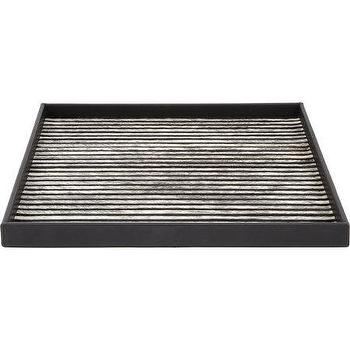 Decor/Accessories - Gilles Caffier Small Cow Hair Square Tray I Barneys.com - modern black and white cow hair tray, cow hair tray, black leather tray with cow hair interior,