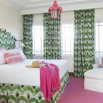 Anne Hepfer Designs - bedrooms - patterned curtains, patterned drapes, white and green curtains, white and green drapes, pagoda lantern, pink lantern, pink pagoda lantern, patterned headboard, white and green headboard, patterned bedskirt, white and green bedskirt, hot pink throw, pink rug, pink and green room, pink and green bedroom,