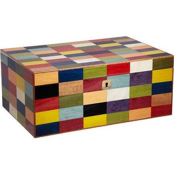 Decor/Accessories - Ercolano Colorblock Jewelry Box I Barneys.com - multi-colored colorblock jewelry box, multi-colored lacquered wood jewelry box, multi-colored square patterned jewelry box,
