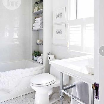 Style at Home - bathrooms - white bath, all white bath, white bathroom, all white bathroom, drop in tub, drop in bathtub, subway tiled shower, shower surround, subway tiles, bathroom subway tiles, bathroom with subway tiles, shower niche, shower nook, vintage apothecary jars, bathroom jars, cactus, bathroom cactus, cactus in bathroom, bath mat, white bath mat, doily bath mat, white doily bath mat, art above toilet, art over toilet, plantation shutters, 2 leg washstand, hex tiles, hex floor, hex tile floor, marble hex tiles, marble hex floor, carrera  marble hex tiles, carrera marble hex floor, carrera hex tiles, carrera hex floor,
