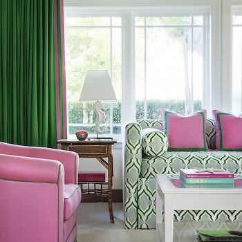 Anne Hepfer Designs - living rooms - pink and green room, pink and green living room, tray ceiling, green curtains, green drapes, kelly green curtains, kelly green drapes, pink and green curtains, pink and green drapes, daybed, patterned daybed, green and blue daybed, pink and green pillows, border pillows, bolster pillows, daybed with bolster pillows, seahorse lamp, white seahorse lamps, bamboo end tables, end tables, lacquered coffee table, lacquered cocktail table, white lacquer coffee table, pink chairs, pink tufted chairs, pink and green chairs, tassel trim, green tassel trim,