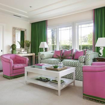 Anne Hepfer Designs - living rooms - pink and green room, pink and green living room, tray ceiling, living room tray ceiling, living room with tray ceiling, green curtains, green drapes, kelly green curtains, kelly green drapes, pink and green curtains, pink and green drapes, daybed, patterned daybed, green and blue daybed, pink and green pillows, border pillows, bolster pillows, daybed with bolster pillows, seahorse lamp, white seahorse lamps, bamboo end tables, end tables, lacquered coffee table, lacquered cocktail table, white lacquer coffee table, pink chairs, pink tufted chairs, pink and green chairs, tassel trim, green tassel trim,