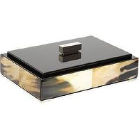 Decor/Accessories - Arca Small Horn Rectangular Box I Barneys.com - horn box, modern horn box, horn box with black lid, horn box with black lacquered lid,