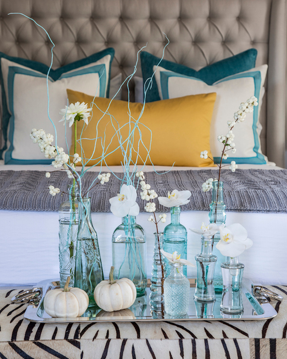 Turquoise blue bottles contemporary bedroom beach for Beach glass interior designs