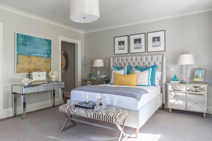 Gray Bedroom with Turquoise Accents 680 x 453