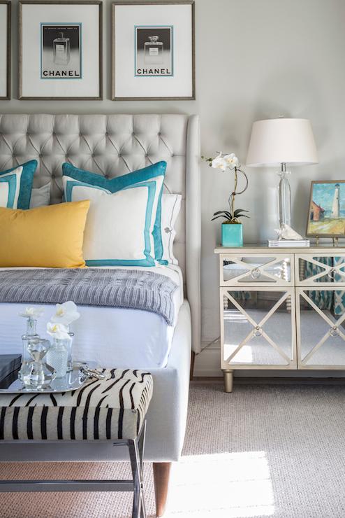 Zebra bench contemporary bedroom beach glass for Beach glass interior designs