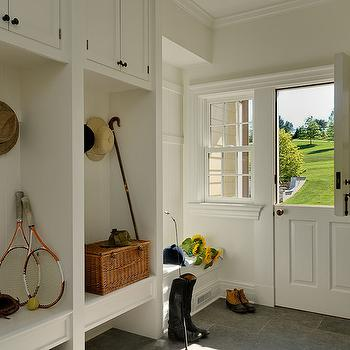 Crisp Architects - laundry/mud rooms - dutch door, mudroom dutch door, mudroom with dutch door, mudroom cabinets, open lockers, mudroom built ins, mudroom built in cabinets, mudroom bench, slate tiles, slate floor, slate tile floor,