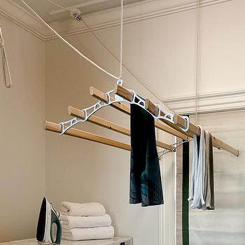 Crisp Architects - laundry/mud rooms - drying rack, laundry room drying rack, ceiling drying rack, ceiling mounted dryer rack, front load washer and dryer, dryer rack ideas, dryer rack in laundry room,