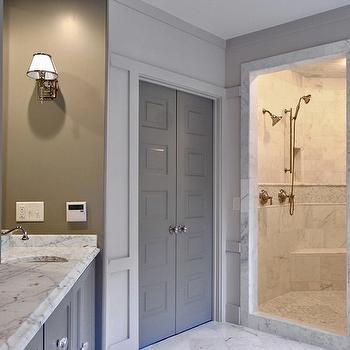 Gray Doors, Contemporary, bathroom, Benjamin Moore Gettysburg Gray, Fitzgerald Construction