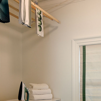 Crisp Architects - laundry/mud rooms - drying rack, laundry room drying rack, ceiling drying rack, ceiling mounted dryer rack, front load washer and dryer, dryer rack ideas, dryer rack in laundry room, pull down drying rack,