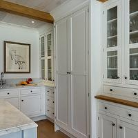 Crisp Architects - kitchens - wood beams, kitchen beams, kitchen wood beams, rustic wood beams, exposed wood beams, glass front kitchen cabinets, pantry cabinets,