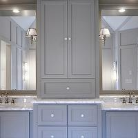 Fitzgerald Construction - bathrooms - gray bathroom, gray cabinets, gray bathroom cabinets, gray bath cabinets, gray washstand, gray vanity, gray bath vanity, center console cabinet, center cabinet console, gray walls, gray paint colors, bathrooms with gray paint, gray mirrors,